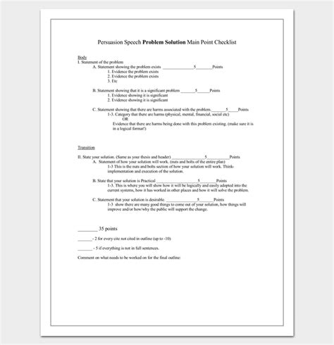 problem solution outline template persuasive speech outline template 15 exles sles