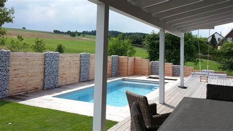 bau eines vorgartens mit neuer terasse pool und - Sichtschutz Pool
