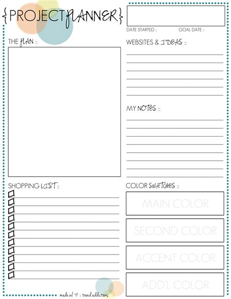 printable project planner free 301 moved permanently