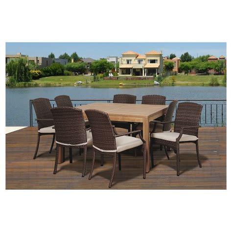 9 pc patio dining set islamorada 9 pc teak square patio dining set brown target
