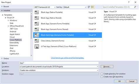 Xamarin Forms Xamarin For Vs 2015 Xaml Pcl Template Fail With There Is A Missing Project Xamarin Forms Xaml Templates