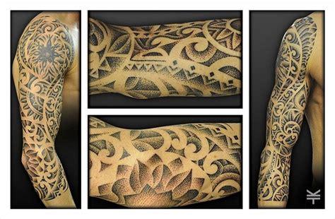 blending tribal tattoos a 3 4 dotwork pointillism sleeve incorporating an