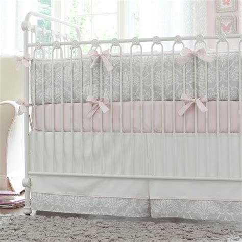 Gray Damask Bedding by Pink And Gray Damask Crib Bedding Collection By Carousel