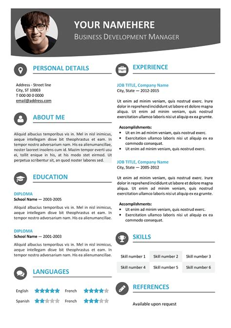 Photo Resume Template by Hongdae Modern Resume Template