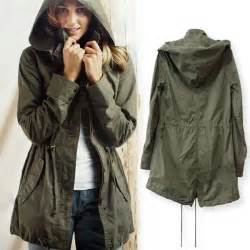 new womens hoodie drawstring army green trench