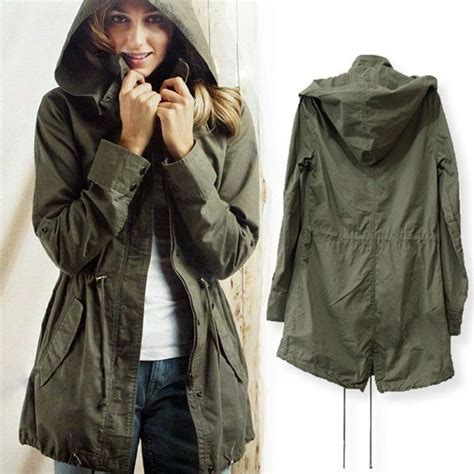 Jaket Parka Green Army Jaket Parka Jumbo Parka Cotton Premium new womens hoodie drawstring army green trench parka jacket coat ebay