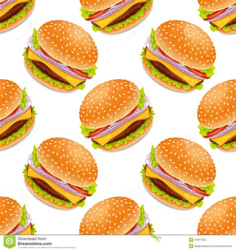 L Kitchen Design by Seamless Background With Cartoon Style Hamburgers Stock