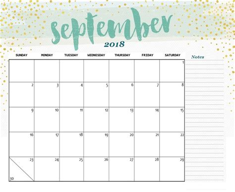 printable calendar cute 2018 cute september 2018 calendar printable happyeasterfrom com