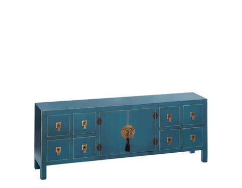 meuble de rangement bas chinois bleu avec 8 tiroirs