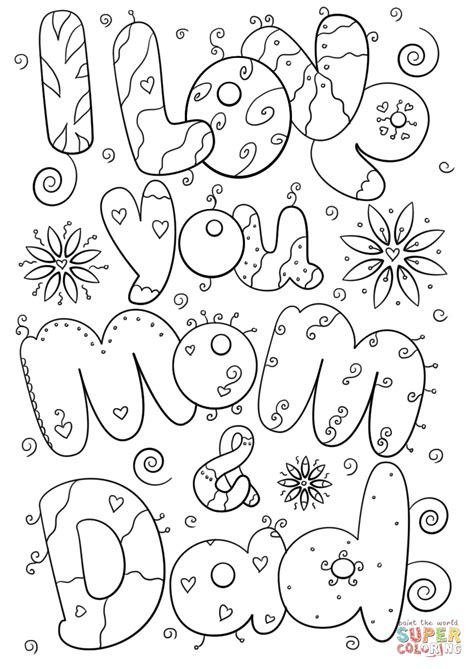 coloring pages of i love you mom i love you mom and dad coloring page free printable