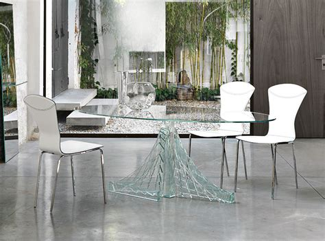 contemporary unico aziumit transparent glass oval dining table