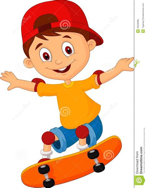Little Boy Cartoon Skateboarding Stock Vector Illustration Of Mascot Air 33236096 Boy Images Free
