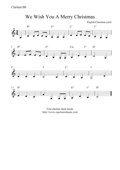 printable sheet music for clarinet we wish you a merry christmas free christmas clarinet