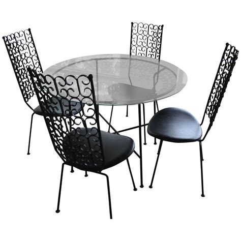 Arthur Umanoff Wrought Iron Patio Set Table And Four Wrought Iron Patio Table And 4 Chairs