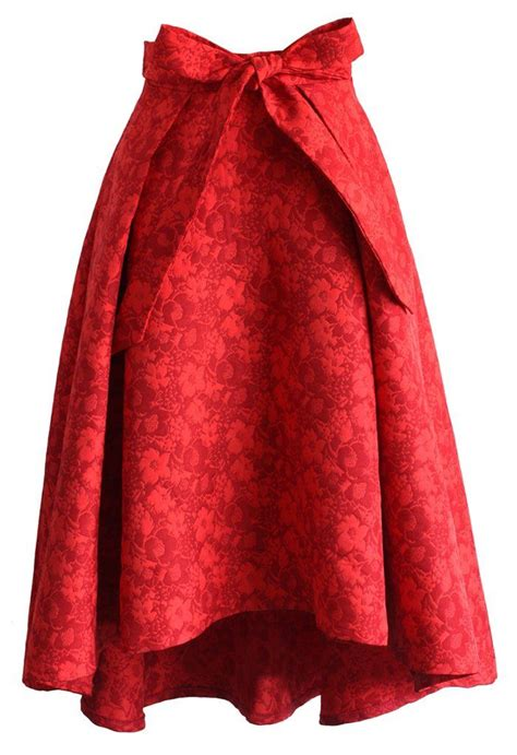 imagenes retro midi scarlet jacquard floral waterfall skirt new arrivals