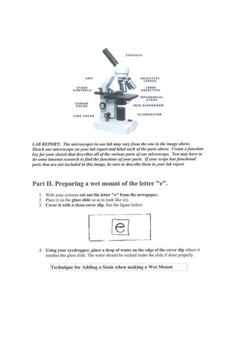 Microscope Lab Report Letter E Microscope Lab