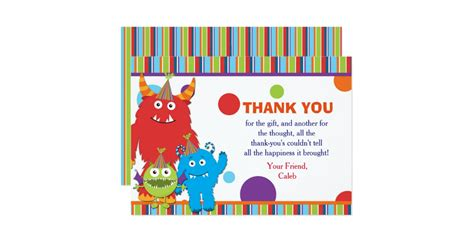 Thank You Letter Invitation Birthday Monsters Birthday Thank You Card Invite Zazzle