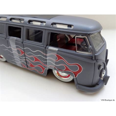 vw  bus samba sun roof white wheels lowrider flames gray matt  vw boutique