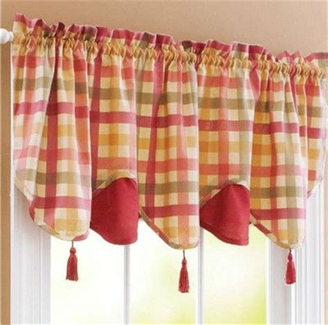 red green curtains red green yellow tan country plaid kitchen curtains