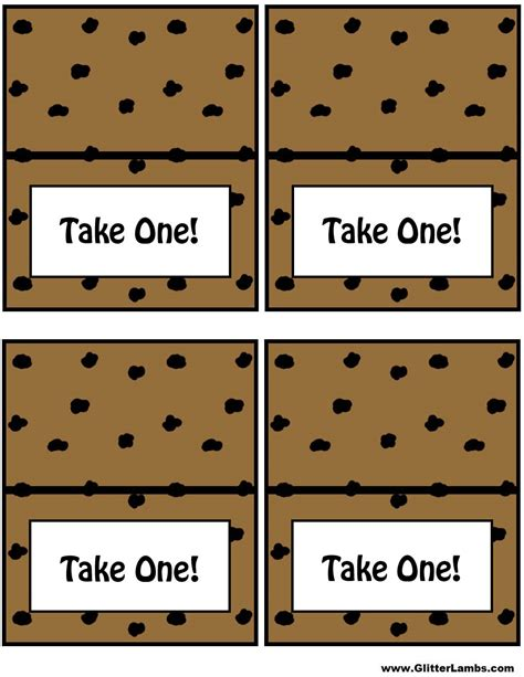 take a card template chocolate chip cooke printable template