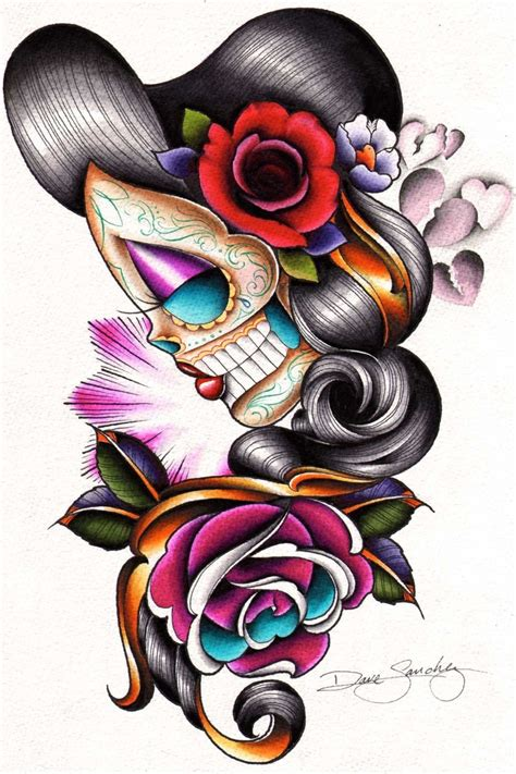 girl skull tattoo designs day of the dead tattoos the dead