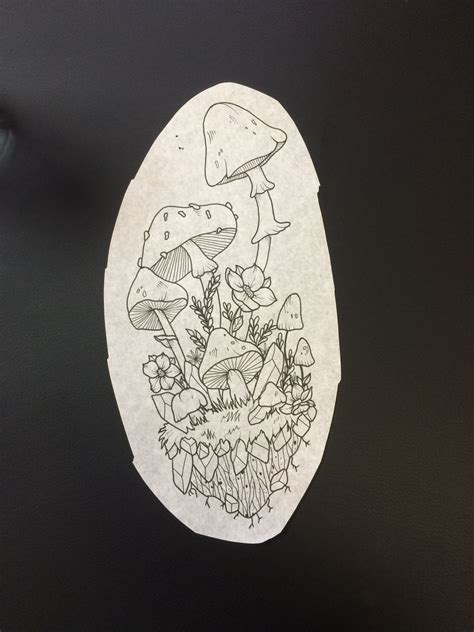 crystal tattoo designs design mushrooms crystals flowers tattoos