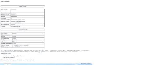 Modele De Lettre D Invitation Immigration Canada Attestation Prise Charge Compte Faire Une Demande Visa Visiteur Q