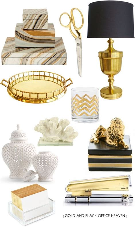 Gold Black Office Supplies Liao A Ff E Pinterest Black And White Desk Accessories