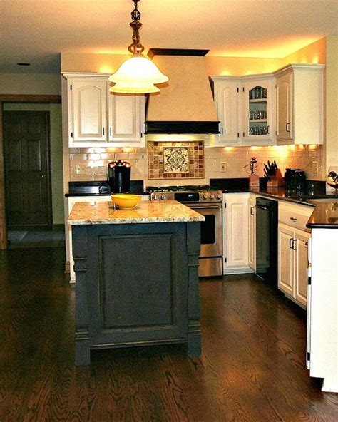 painted islands for kitchens painted and waxed kitchen island traditional kitchen milwaukee by shore custom llc