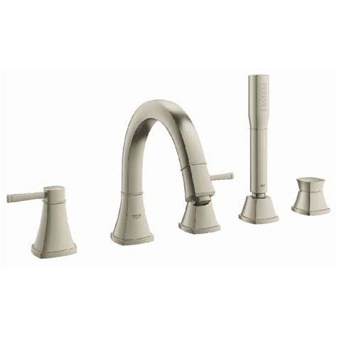 shop grohe concetto brushed nickel 1 handle fixed deck mount bathtub faucet at lowes com shop grohe grandera brushed nickel infinity 2 handle fixed
