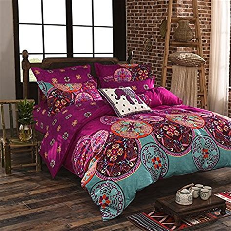 Boho Bed Sheets by Auvoau Boho Bedding Set Lightweight Polyester Microfiber