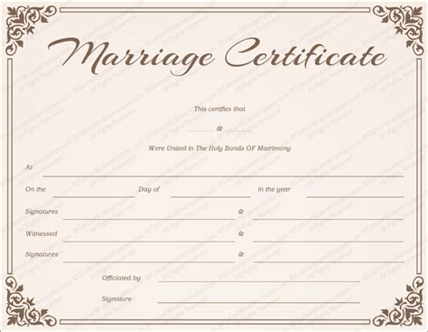 free printable marriage certificate template chocolate border marriage certificate template get