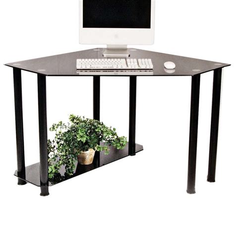 Glass Computer Corner Desk Rta Glass Corner Computer Desk Black Glass Ct 013b