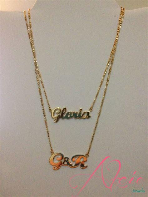 cadenas oro con tu nombre nombre e inicial en oro laminado o rodio y cadena cartier