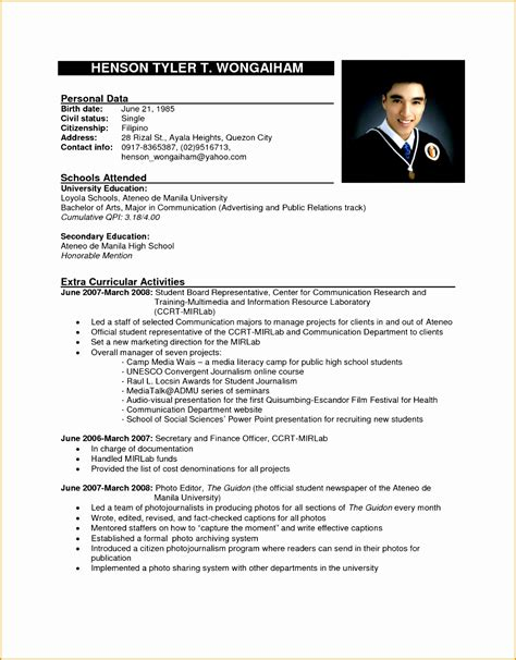 Curriculum Vitae Sle Format by Formal Resume Sle 28 Images Format Of Resume Sle 28