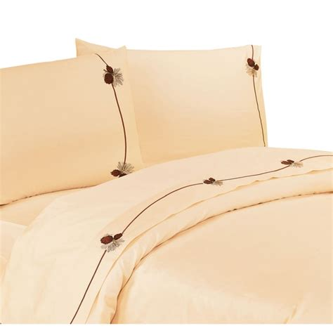 Pine Cone Comforter Hiend Accents 350 Thread Count Embroidered Pine Cone Sheet