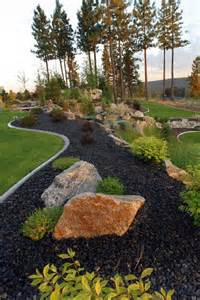 black lava rock landscaping gardens and black rock on