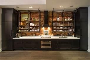Red Brick Backsplash Industrial Kitchen Design Creates A Great Loft Style