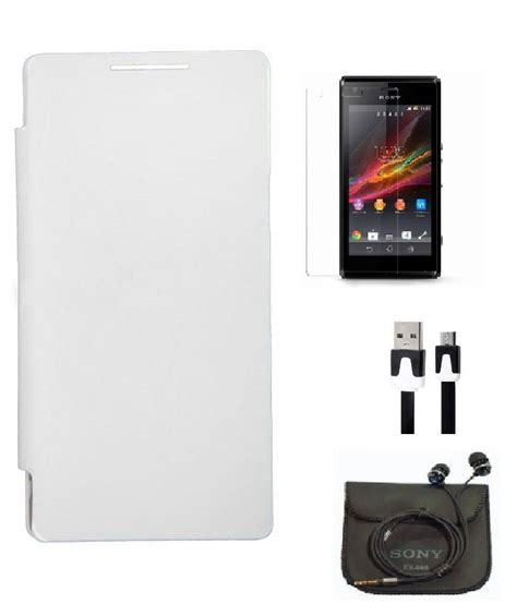 Flip Cover Xperia J axes flip cover for sony xperia j st26i white