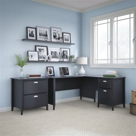Home Office Furniture Ct Kathy Ireland By Bush Connecticut 2 Office Set In Black Suede Oak Ct006bs