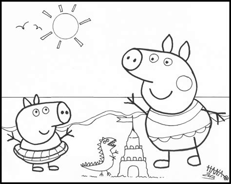 peppa pig at the beach coloring pages free coloring pages of coloriage de peppa pig