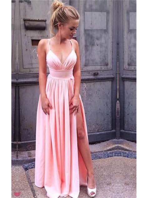 V Neck Dress Pink pink v neck prom evening formal dresses with side