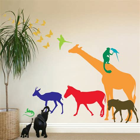 animal wall stickers nine safari animal wall stickers new sizes by the bright