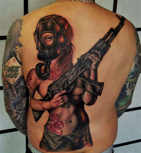 pin up girl tattoo designs for men combating walking dead inspired