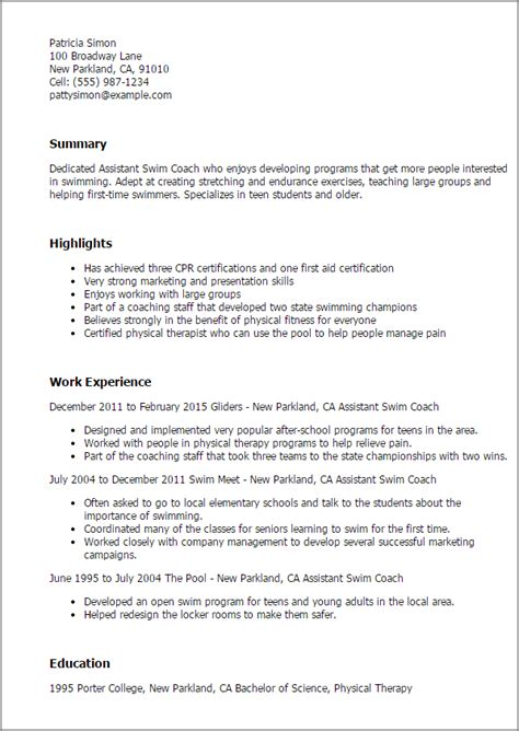 Resume Coach by Assistant Swim Coach Resume Template Best Design Tips