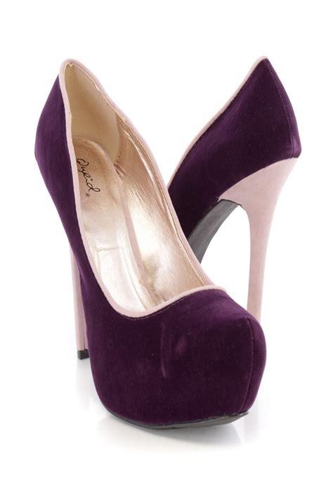 purple high heels for sale purple two tone platform high heels velvet