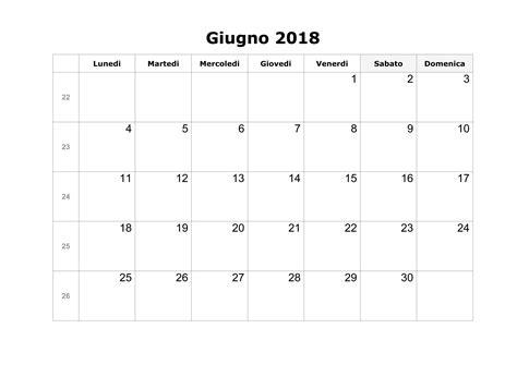 Calendario 2018 Giugno Calendario Giugno 2018