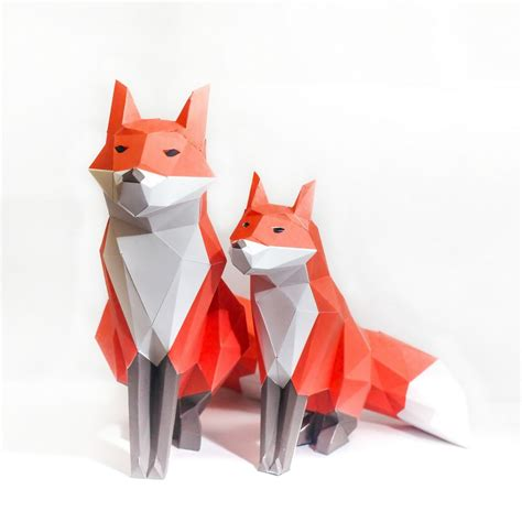 3d Model Papercraft - fox printable digital template diy papertoy model