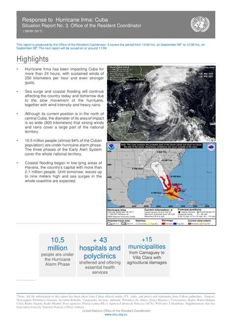 Situation Report Template Response Coordinator Response To Hurricane Irma Cuba Situation Report No 3