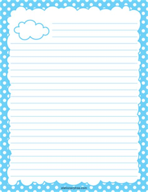 cloud writing paper free nature stationery and writing paper